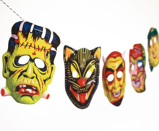 Vintage Halloween Garland  2D Funny Masks by RawBoneStudio on Etsy, $15.50
