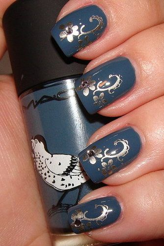 grey, blue and gold... #nail_art #nails #manicure #nail_polish