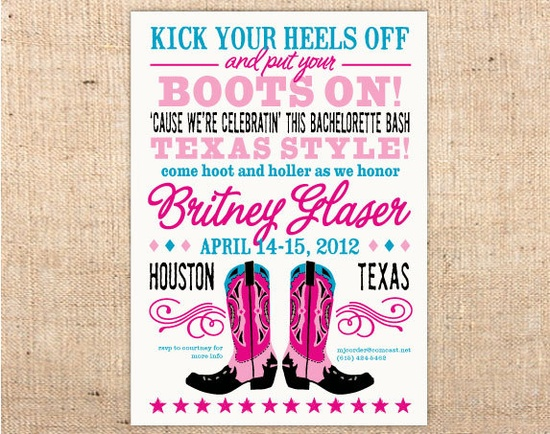 Old West Vintage Style Cowboy Boots Customizable Party Invitation. $16.00, via Etsy.