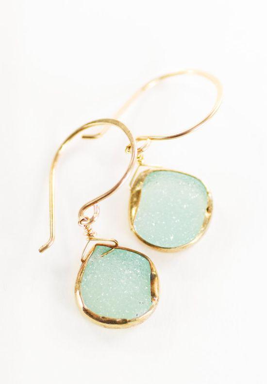 Kainehe earrings  mint green druzy gold earrings by kealohajewelry
