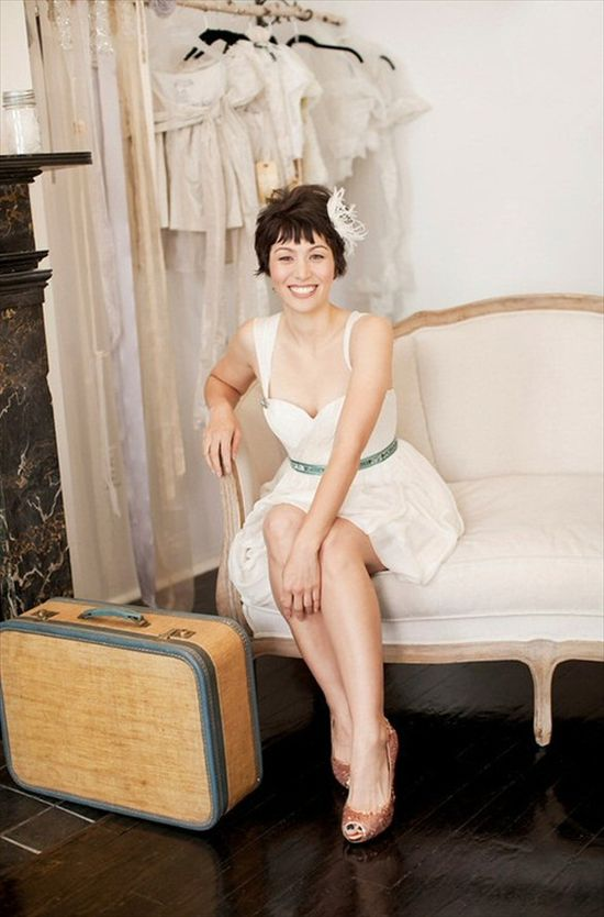 short hair bride with feather (photo by cly creation via lovely bride; hair by steff glaz, makeup by erin's faces)