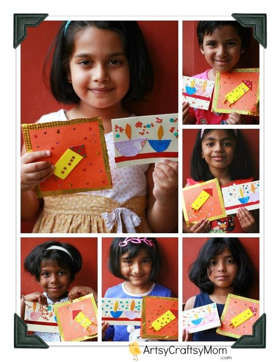 Artsy Craftsy Mom: Diwali Handmade card for kids to make