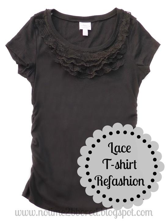 Easy Lace Ruffle T-shirt Refashion - Tutorial