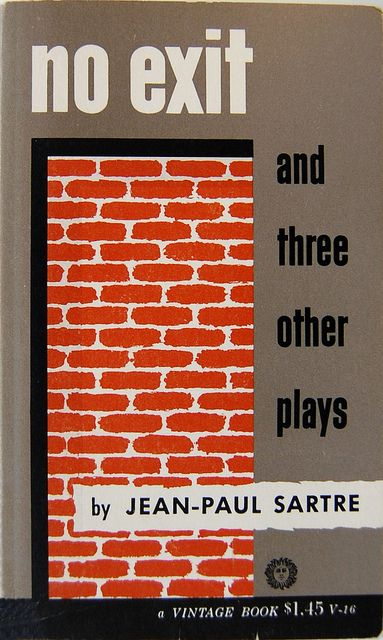 Book cover design by Jean Carlu for No Exit and Three Other Plays by Jean-Paul Sartre. New York: Vintage, c. 1946.