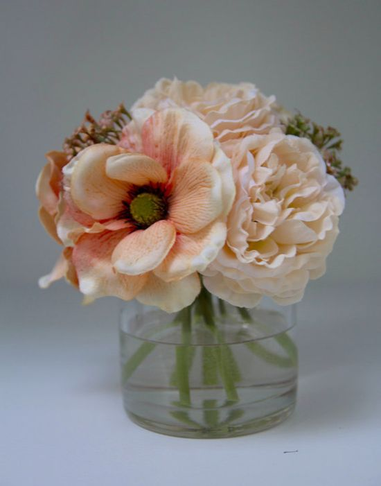 Orange Anemone and Peony Flower Arrangement by ACHomeDesigns