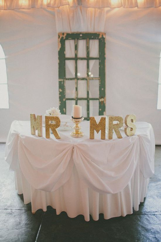 glittered gold Mr & Mrs decorations for the sweetheart table