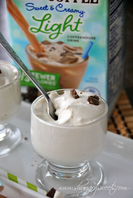 Vanilla Iced Coffee Pudding: delicious, skinny dessert made with pudding, International Delight iced coffee, milk and Cool Whip #LightIcedCoffee #dessert @Liting Sweets