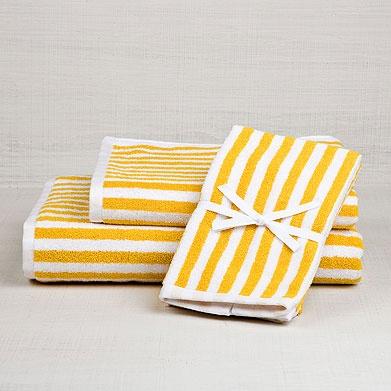 bathroom towels: zara home #stripes #yellow #decor #home