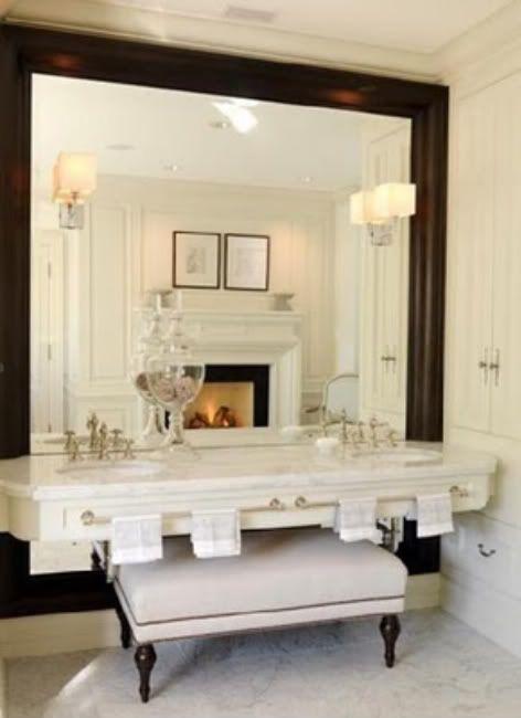 large mirror and vanity