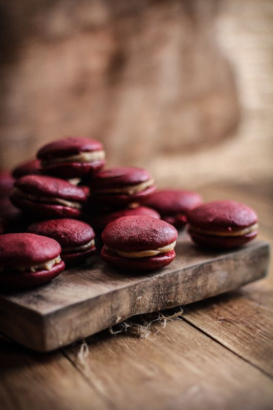 {I have a serious crush on these gorgeous little whoopie pies with their scrumptious salted caramel filling!} Red Velvet & Salted Caramel Whoopie Pies