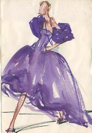 vintage fashion sketches make for cool wall decor.  Balenciaga, 1955.