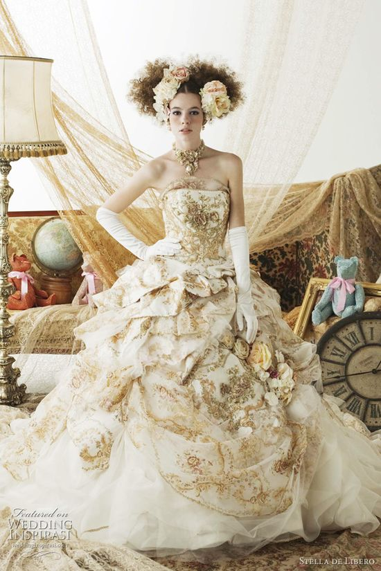 gold wedding dress stella libero - marie antoinette inspired rococo bridal collection