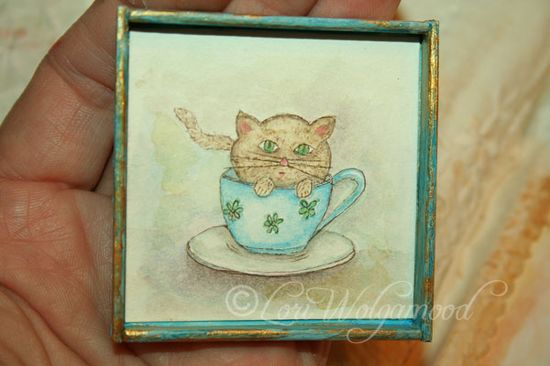 Kitten in a Cup - Hand Painted Print for Miniature Doll House -  Vintage Nest Designs, Creative Handmade and Hand Painted Designs