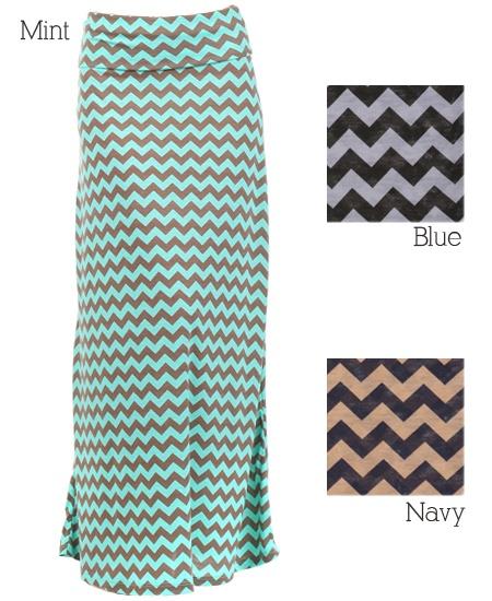 Chevron Print Maxi Skirt // Loving maxi skirt! So comfy. Chevron print - so in!