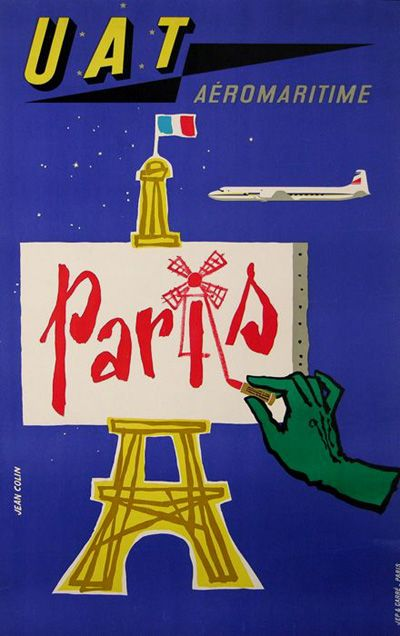 UAT Aeromaritime vintage Paris travel poster.
