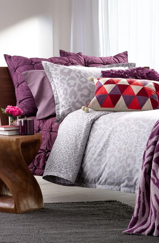 Loving leopard in grey paired with purple.
