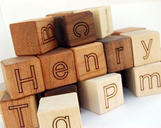 personalized wooden blocks. etsy. littlesaplingtoys
