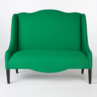 green linen loveseat from south of market