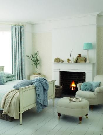 bedroom fireplace and perfect reading chair