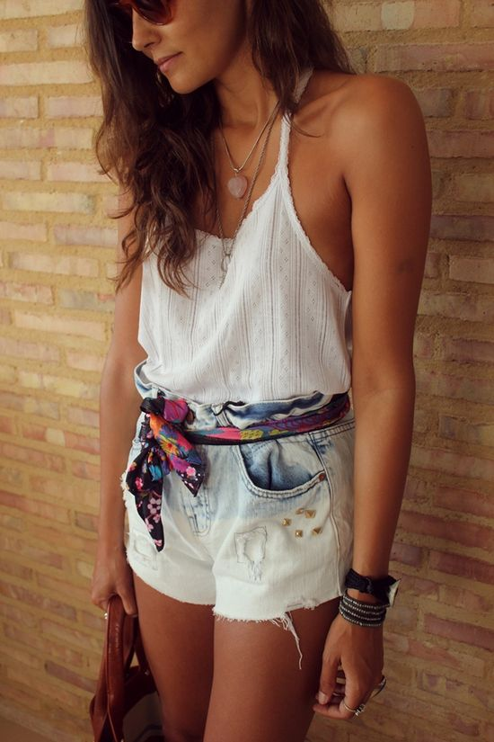 Scarf belt, cute white top, high waisted shorts www.studentrate.c...