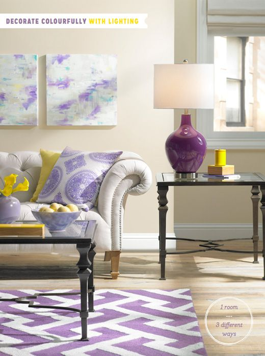 Purple and yellow interior design living room