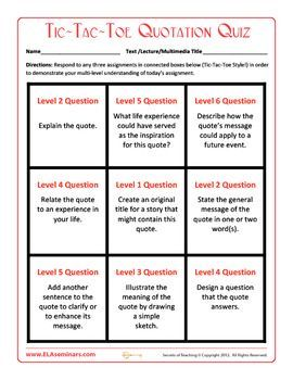 Use this Bloom's Taxonomy Quotation Quiz with any quotation or lifted text.   Students complete any three connected Tic-Tac-Toe tasks to preview chapters or to check understanding. #softskills #self personality #soft skills