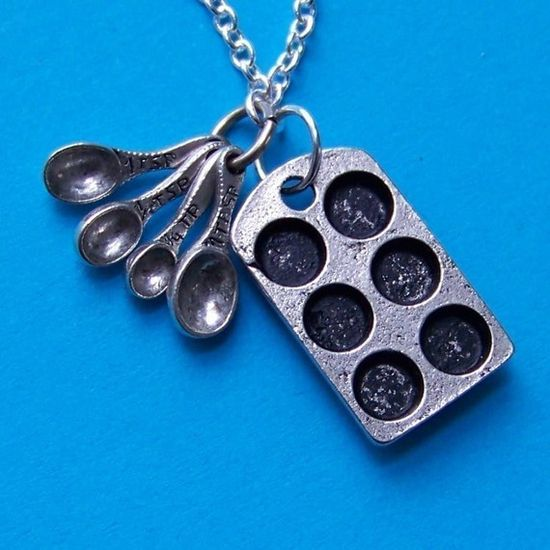 Loves to Bake Cupcakes Pewter Charm Necklace- with antiqued muffin tin miniature measuring spoons and silver chain