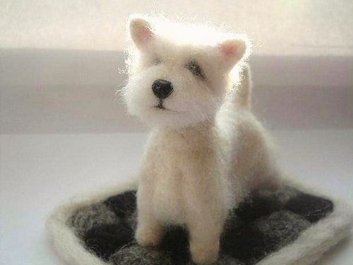 a stunning needle felted westie! Needle felting pooches is no easy feat! Adorable!