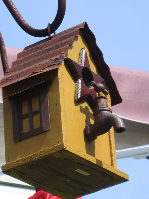 Bird house - Love the tap and corrugated iron roof.  #wm