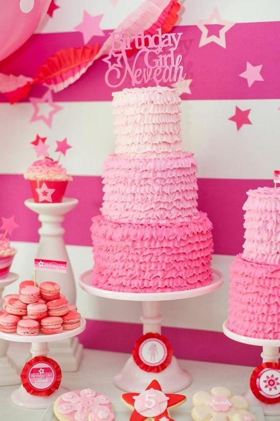 Ruffle ombre cake at an American Girl Doll Birthday Party via Kara's Party Ideas