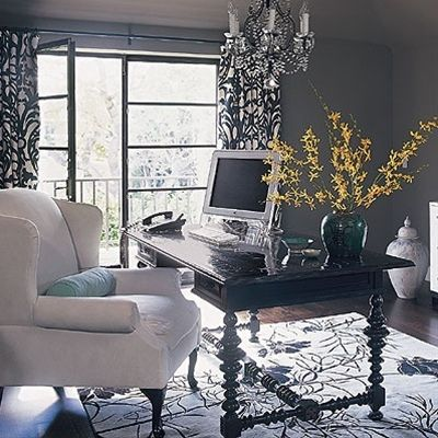 Office- here's a different feel for your office. Could do the same concept with a lighter color scheme!