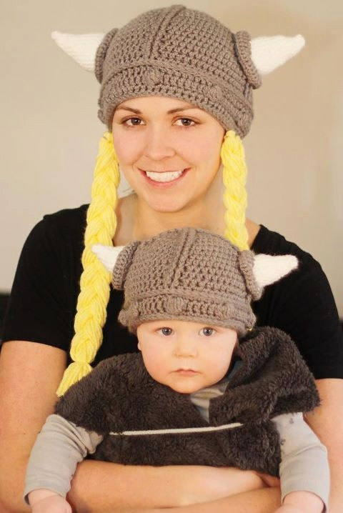Crochet Viking mommy and baby hats :)