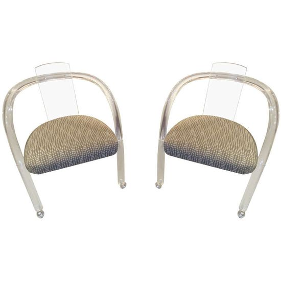 Pair of Lucite Midcentury Chairs on Casters