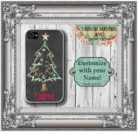Holiday Tree iPhone Case, Personalized iPhone Case, Chalkboard, Fits iPhone 4, iPhone 4s, iPhone 5, iPhone 5s, Phone Cover, Phone Case on Etsy, $17.99
