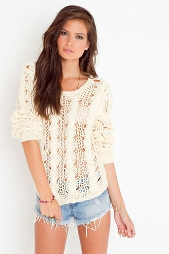 Open knit sweaters~ you can wear them in the winter, and in the summer for a bikini cover up.
