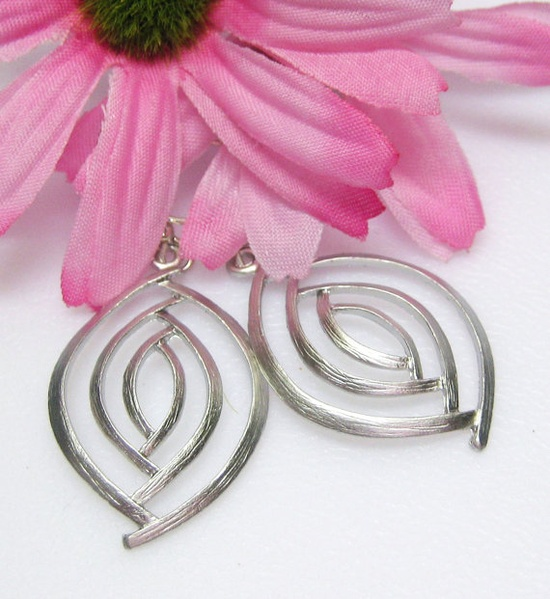 Silver Multi Circle Oval Earrings  Matte by MyGemstoneDesigns, $22.00