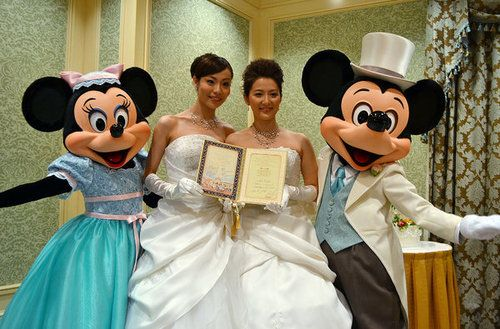 Tokyo Disney Resort just held its first same-sex wedding! The country doesn't have marriage equality quite yet, but these happy brides are a glowing example of what might be coming for LGBT couples in Japan.  Reblog to spread the word!