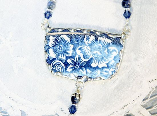 Broken China Jewelry Pendant, Recycled Dish Necklace in Navy Blue & White by Robinsnestcreation1