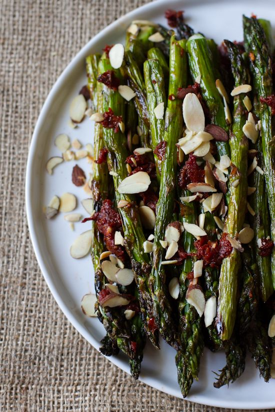 grilled asparagus + sun dried tomatoes