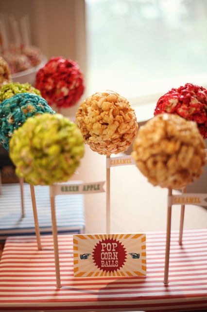 Popcorn Balls at a Carnival Party #carnival #partypopcorn