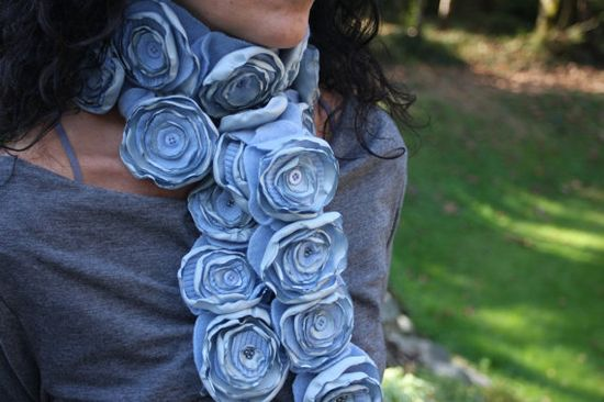 Recycled cashmere flower scarf - steel blue long handmade flower scarf