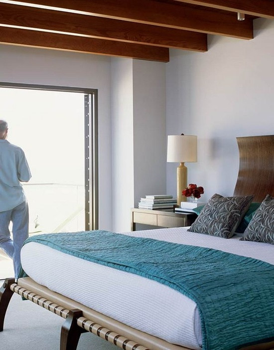 Klismos style bed; room by Chris Barrett