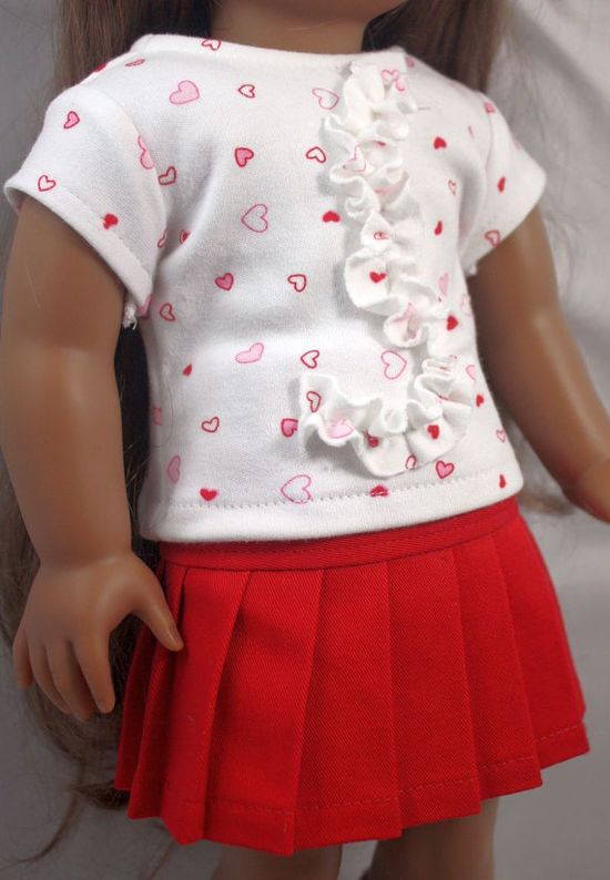 American Girl Doll ClothesRed and White  by buttonandbowboutique,