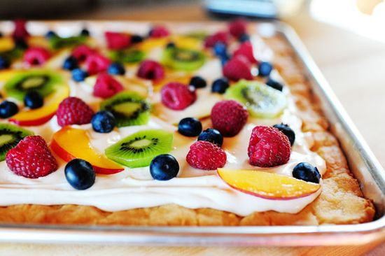 Fruit pizza (sugar cookie dough)