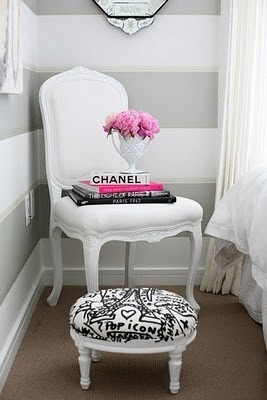 striped wall white office furniture