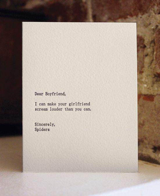 dear boyfriend letterpress card by shopsaplingpress on Etsy, $4.50