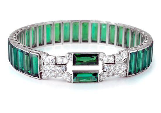 Cartier Art Deco Tourmaline and Diamond Bracelet