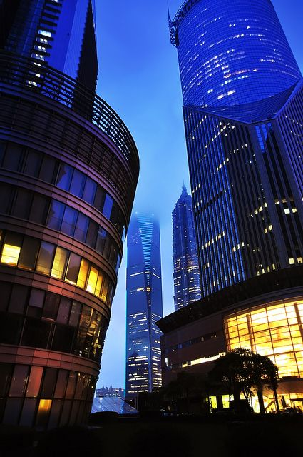 Shanghai Night by Sprengben [why not get a friend], via Flickr  (Shanghai World Financial Center, China)