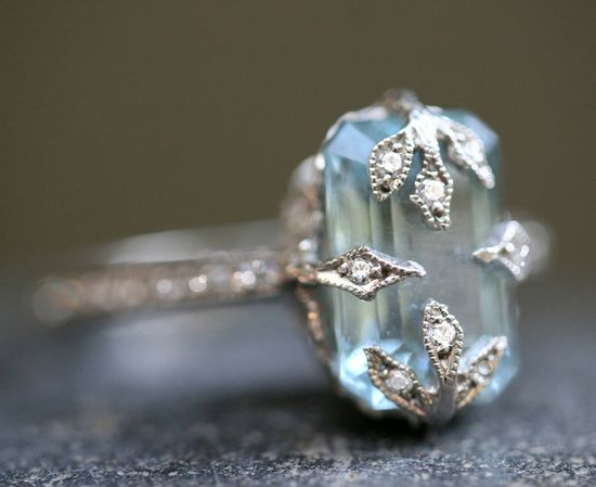 """Cathy Waterman's Love of My Life Collection represents the pure magic that is her jewelry. Rings encrusted in tiny, sparkling diamonds, colored precious gems set in rich, 22K gold or platinum and stunning, sublime combinations of shape and materials express the lyrical sophistication of the most perfect wedding jewelry ever."" Platinum / Diamond / Aquamarine Ring (Price not Available)"