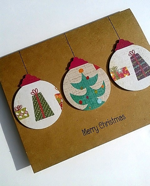 Paper Handmade Christmas Cards   Handmade by SharingAPassion, $5.00...cute Christmas card idea. Use scrapbook paper or wrapping paper scraps